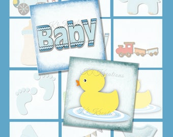 Baby Boy  2 Inch Square -Digital Collage Sheet Printable Instant Download resin - glass tiles - magnets