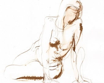 Twisting Female Figure Seated, Original Ink Wash Figure Drawing, Pen and Ink Gesture Drawing, Brown Walnut Ink on Paper 7x10