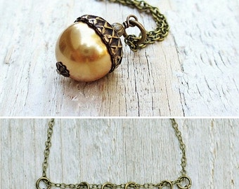 Pearl Acorn Necklace, Acorn Charm, Acorn Pendant Necklace, Antiqued Brass, Choice of Colors, Autumn Jewelry, Gift under 30, Woodland