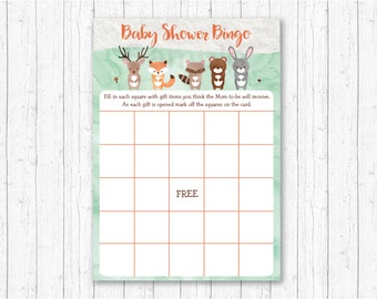 Cute Woodland Animal Baby Shower Bingo / Woodland Baby Shower / Forest Animals / Watercolor / Gender Neutral / INSTANT DOWNLOAD A156