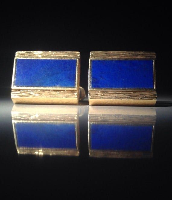 14K Gold Reversible Lapis Lazuli and Chrysoprase Cufflinks (27.5 grams)