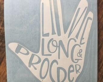 """Spock Vulcan Star Trek Inspired """"Live Long and Prosper"""" Car, Laptop, or Decor Vinyl Decal"""