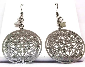 Stainless Steel Filigree CIrcular CHarm and Butterfly Earrings-Stainless Ear Wires, Light Weight, Delicate, Bright Silver, Mother's Day Gift