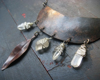 Traveler's Moon - Raw Quartz Point Necklace Reclaimed Oxidized Copper Sterling Silver Chain Hand Forged Jane Plain Talisman Necklace