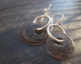 The Traveler - Sterling Silver Hoops Salvaged Copper Hammered Oxidized Heat Patina Wildflower Ear Wires Jane Plain Urban Gypsy Earrings
