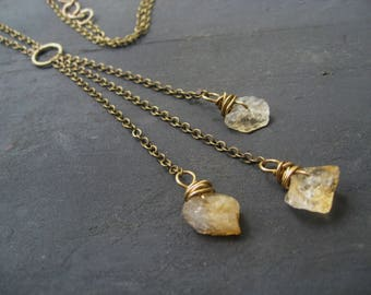 Journey - Brass Lariat Necklace Raw Citrine Nuggets Hand Forged Loops Jane Plain Lucky Traveling Necklace