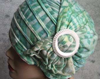 Womens Hat With Side Drape And Slide Trim Pale Green Jersey Print Fabric Chemo Hair Loss Cap Or Bad Hair Day Hat Head Size 21- 23