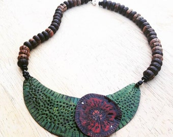 Boho Green Half Moon with Red Flower Bib Necklace with Wooden Beads Statement Necklace Artisan Jewelry Plus Size
