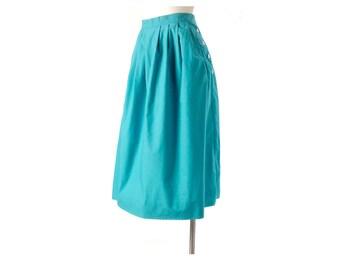 Vintage 80s Skirt - 80s Teal Skirt - High Waist 80s Skirt - Teal Green - 80s Pleated Skirt - 80s Full Skirt - Teal White - LL Bean - M L
