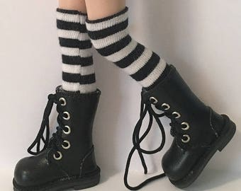 Tall/Over The Knee Black And White Striped Socks...For Blythe...