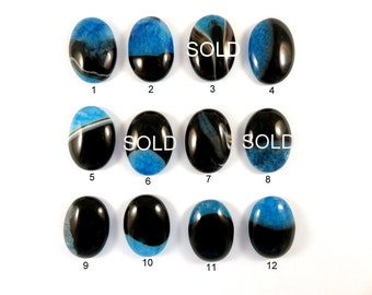 Dragon Vein Cabochon Agate Stone Pendant Blue and Onyx Druzy Flat Back -  No Hole - 25x18mm - 1 pc - AG - Select Number