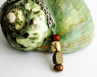 Stacked Stone Necklace Natural Jasper Stone Beads, Earthtone Colors, Wire Wrapped Eco Friendly Jewelry by Hendywood