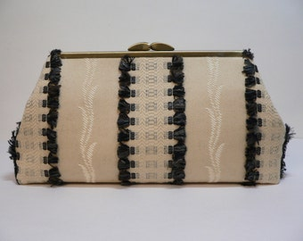 Modern Clutch Medium Tan with Black and Gray Fringe