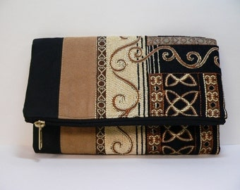 Envelope Clutch Black and Tan Chenille