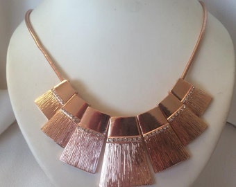 Rose Pink Gold Collar Bib Statement Necklace