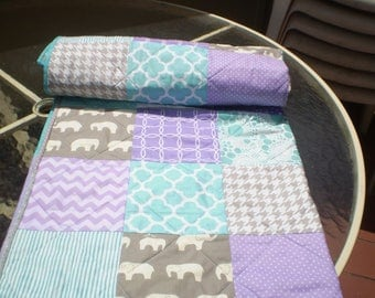 Modern baby quilt, baby quilt, teal, aqua grey purple, baby girl quilt, handmade baby quilt, crib bedding, elephants, chevron-Birch Ellie