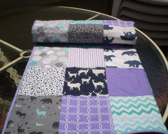 Handmade Baby quilt, baby girl quilt bedding,deer crib bedding, woodland baby quilt, grey, purple, teal nursery,bear, moose, Woodsy in Lilac