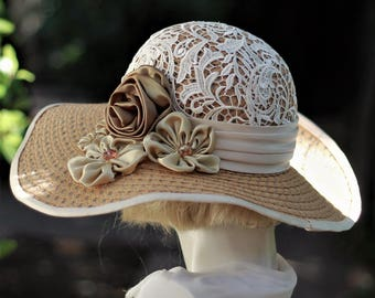 Summer Hat, Hat with Lace, Tan Straw Hat, Hat with Flowers, Garden Party Hats, Kentucky Derby Race Hat