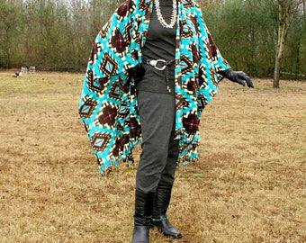 Southwestern Spirit Anti Pill Fleece Shawl, Poncho, Cape, Serape, Blanket Scarf or Wrap with Fringe-Cinco de Mayo--One Size Fits Most