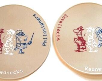 Beige Pair Six Inch Office Coasters Desk Coasters Redneck Coasters Table Coasters
