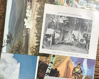 Let's Go Camping in Yellowstone National Park Vintage Wyoming Collage, Planner and Scrapbook Kit Number 2387