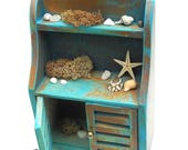 Custom Seaside Hutch for Dollhouse, OOAK, Dollhouse Furniture, Customized, Weathered, Props Not Attached, One Inch Scale, Not For Outdoors