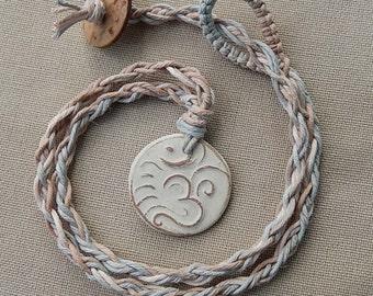 Ohm Aum Om Hemp Braided Necklace - Natural Bohemian Woodland