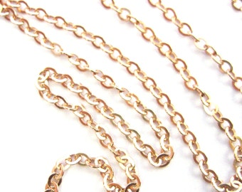 Rose Gold Chain,Gold plated Silver Chain-Strong Flat Cable Chain,Bulk Chain,Unfinished Chain 2.3mm-(1.5 feet or 18 inches) -SKU:101051-RG