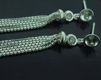 Earring Findings, Earring Posts,Sterling Silver Earrings Findings,Fancy Earrings-tassel earrings, Bridal Earrings (1 pair) SKU:203065