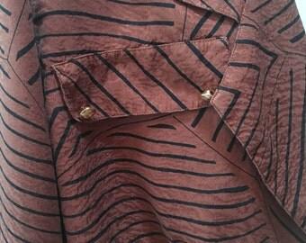 Rust Stripe Blouse Style Jacket Vintage 1980's