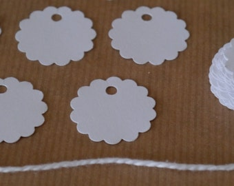 "70 x 1"" scallop tags, swing tags, gift jewelry hang tags,small scallop circle tags"