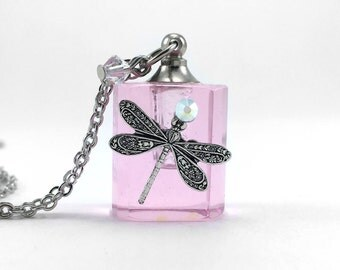 Pink Dragonfly, Essential Oil Diffuser Necklace, Pink Glass, Perfume Bottle, Diffuser Pendant, Aromatherapy Jewelry, Swarovski Crystals