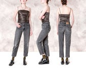 HIGH WAIST LEVI jeans 550 Student 90s distressed Faded black denim 90s clothing Mom vintage / size 4 5 / waist 28 / better Stay together