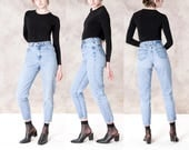 HIGH waist RIPPED rip LEE jeans vintage women Boyfriend mom 90s frayed holes / size 4 / waist 26 /