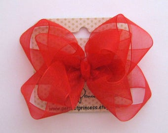 Medium Double Layer Loopy Style Organza Hair Bow in Red