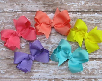 CUSTOM Value Package of 5 Small Grosgrain Boutique Hair Bows for Baby, Infant, Toddler Girls Hairbow