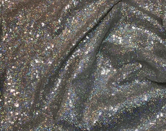 Holographic SEQUIN Spangle Sewn on Mesh Fabric  1/4 Yard