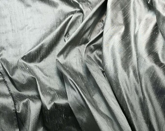 Dusty Victorian Blue Silk DUPIONI Fabric - 1 Yard
