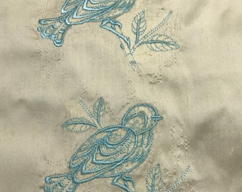 Embroidered Silk Dupioni Fabric - Bluebirds
