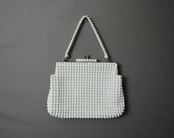 Vintage White Mod Purse, Plastic Beads by Grandee, 7x9 inches