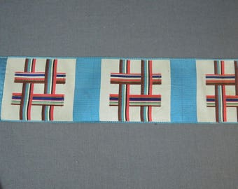 Antique 1900s Silk Ribbon with Woven Colorful Lines, 2 yards, 3-1/2 inches wide