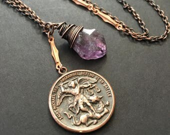 Raw Amethyst Necklace Antique Religious Necklace Saint Michael Medallion Religious Jewelry Copper Necklace DanielleRoseBean Long Necklace