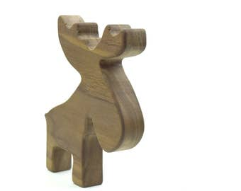 Woodland Moose Organic Play Toy - Wooden Toy Animal - Imaginative Play Toy - Solid Wood Safe Toy - Cute Kids Animal Toy - TY39