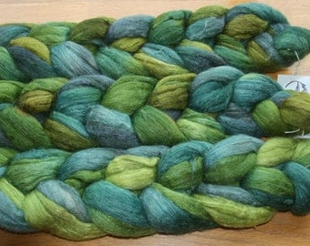 Polwarth Tussah Silk Spinning Fiber - 'Greens'