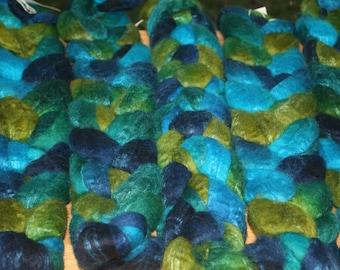 Blueface Leicester Tussah Silk Spinning Fiber - 'Kelp'