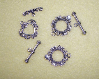 Three Silver Plated Toggle Clasps with Clear Swarovski Crystals, heart toggle clasp, round toggle clasps