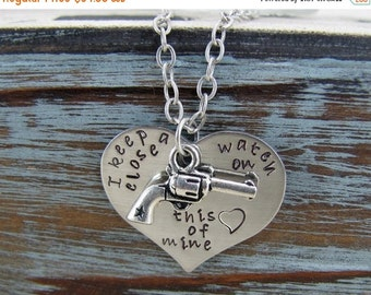 SALE I Keep A Close Watch On This Heart Of Mine Hand Stamped Heart And Pistol Charm Revolver Necklace