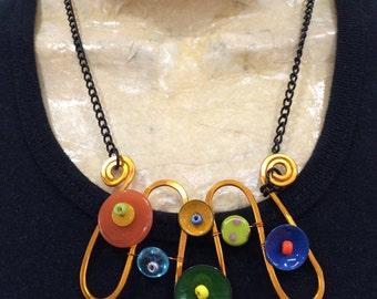 Mod Squiggle Necklace, Orange Wire