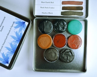 The Forest Palette, Anthesis Arts Artisanal Handcrafted Watercolor Paints, Large Petal Caps, Square Travel Set of Eight