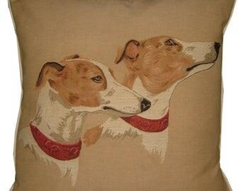 Greyhound Heads Tapestry Cushion Cover Sham